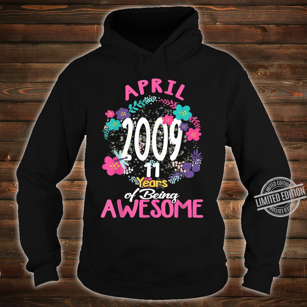 April 2009 11th Birthday Tee Floral for Girls Shirt hoodie