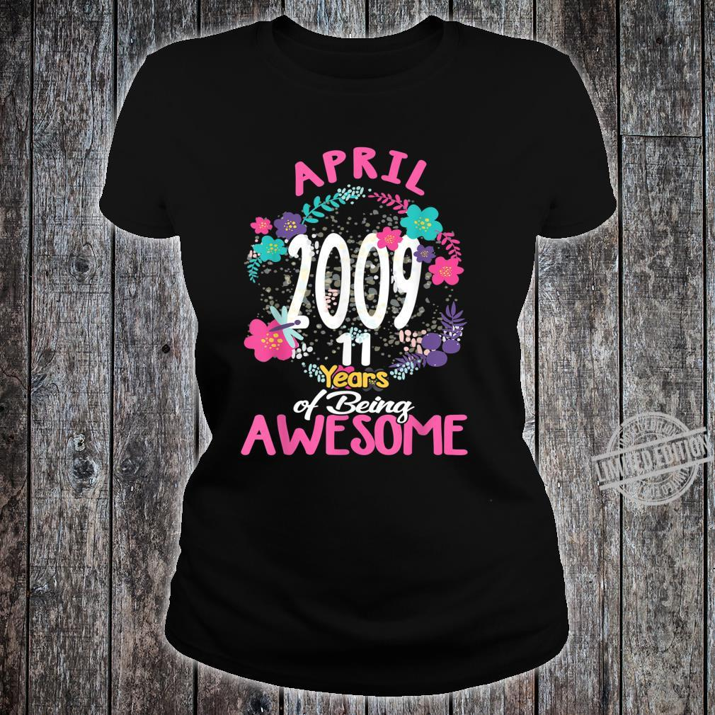 April 2009 11th Birthday Tee Floral for Girls Shirt ladies tee