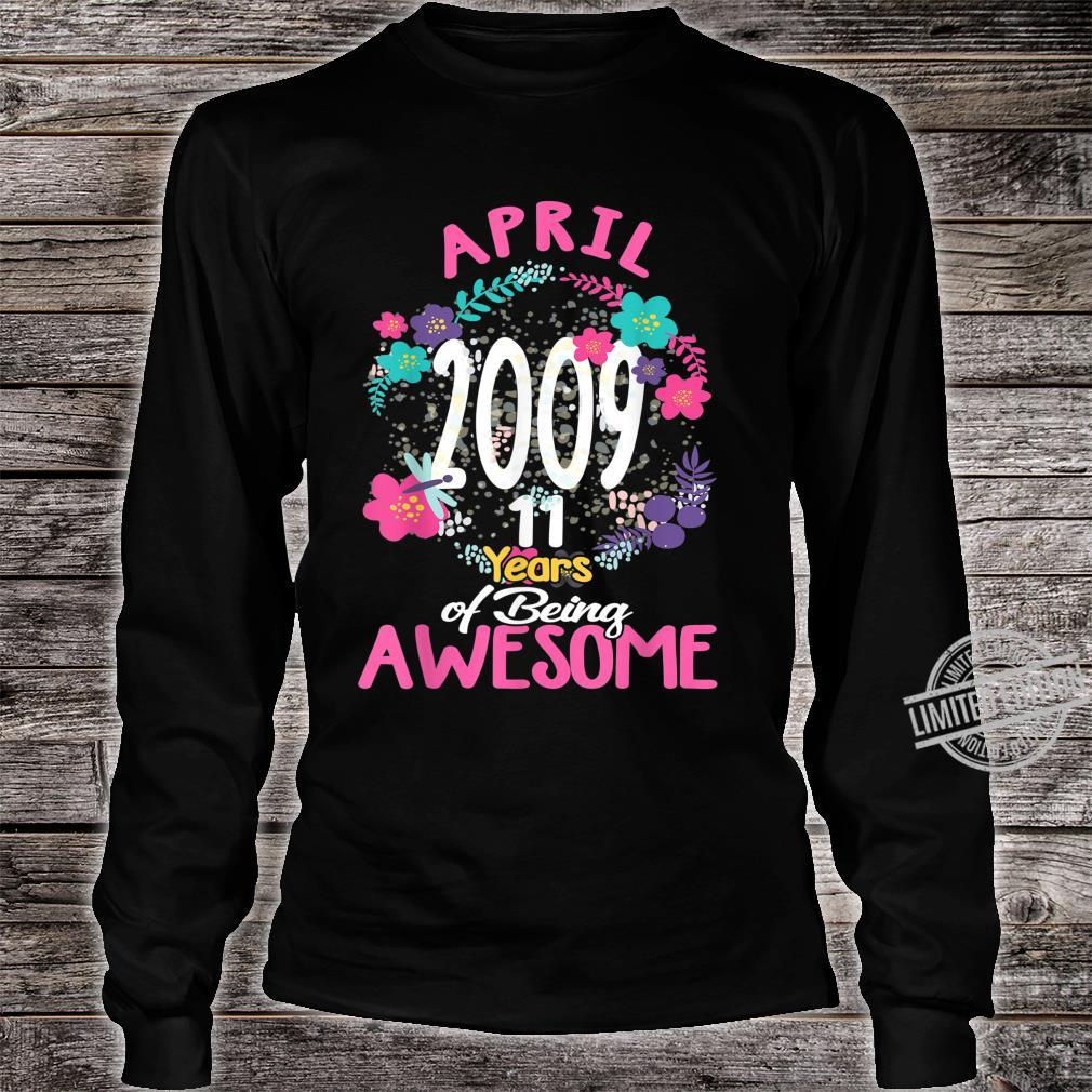 April 2009 11th Birthday Tee Floral for Girls Shirt long sleeved