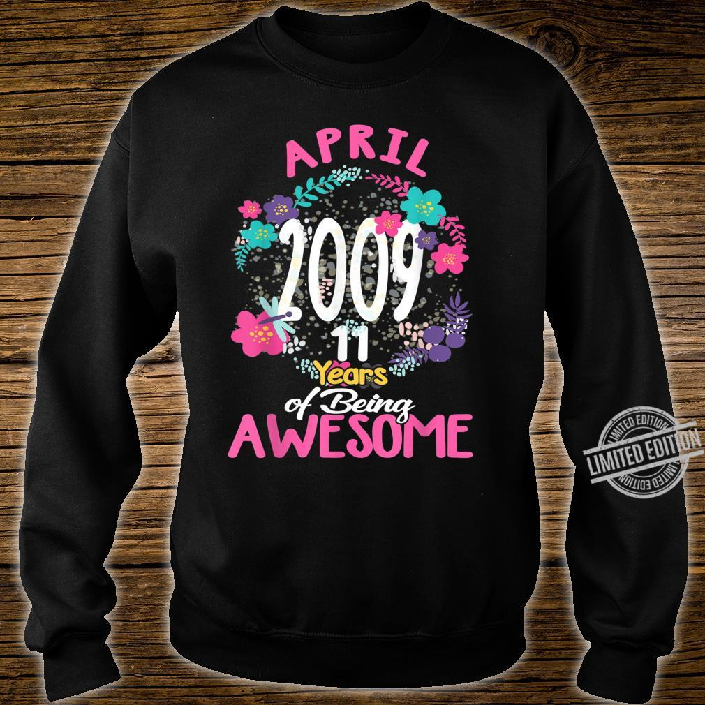 April 2009 11th Birthday Tee Floral for Girls Shirt sweater