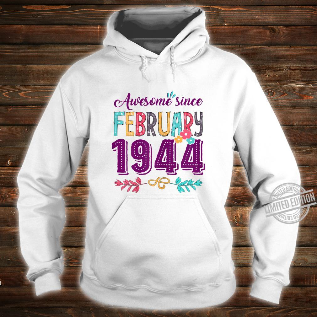 Womens Birthday Floral For Girls Born In February 1944 Shirt hoodie
